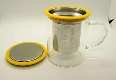 256020 Кружка с металлическим ситом и крышкой, 350 мл, цвет - желтый, стекло, d=8 см, h=9,5см.