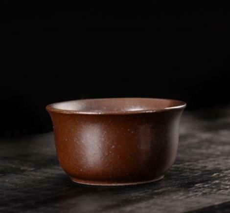 """268101b Пиала РЕТРО2 """"Раскрытая"""" имит.обжига h=3,4см, d=6,5см, 40мл, керамика мат.коричневый"""