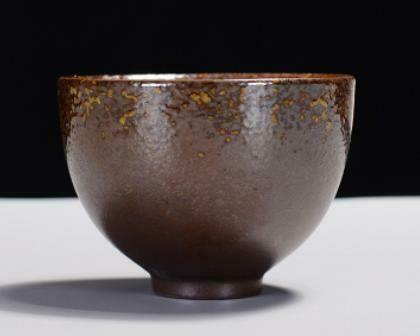 "268102 Пиала РЕТРО2 ""Колокол"" имит.обжига h=5см, d=7,25см, 70мл, керамика коричнево-желтый"