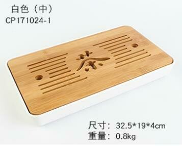 "243032.4 Чабань ""Чай"" БЕЗ КОРОБКИ h=4см, размер=32,5*19см, бамбук/пластик натуральный/белый"
