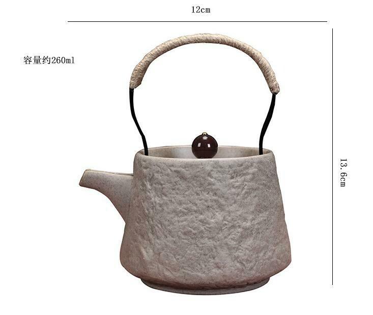 """268106 Чайник серия-Крестьянская """"Каменный узор"""" h=13,6см, l=12см, 250мл, глина песочный"""