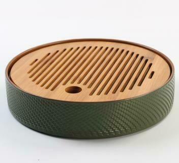 """243051 Чабань """"Японский чай"""" h=4,3см, d=22см, бамбук/керамика натуральный/зеленый"""