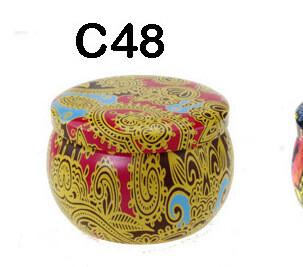294048 Банка Орнамент C48  h=5см, d=7,7см, 150мл, жесть желтый