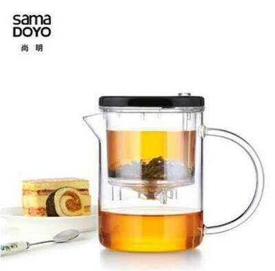 213030 Чайник изипот SAMADoyo  350мл, стекло/пластик. Без носика, съемная крышка. Высота11, дм7