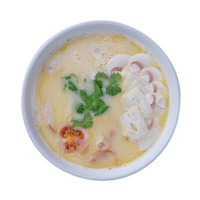 Сырный суп по-кантонски (с копчёной курицей, беконом и грибами)