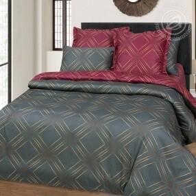 Комплект постельного белья из сатина Шарль Красный&Серый