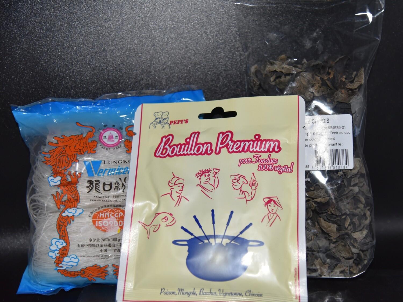Kit pour fondue chinoise (Bouillon+Champignons+Vermicelles)
