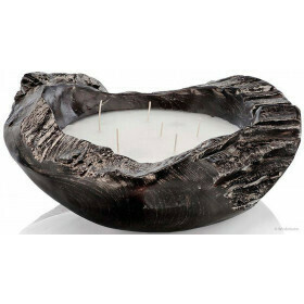 Natural Teak Bowl Candle Black Large
