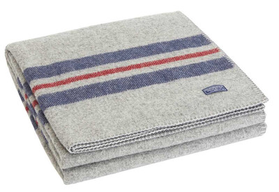 Cabin Wool Throw - heather gray navy red