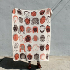 Friendly Faces Knit Throw Blanket