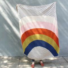 Rainbow & Raindrops Knit Throw Blanket