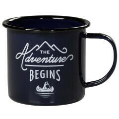 Adventure Begins Enamel Mug, Blue