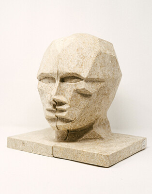 Face Bookend - set of two -marble