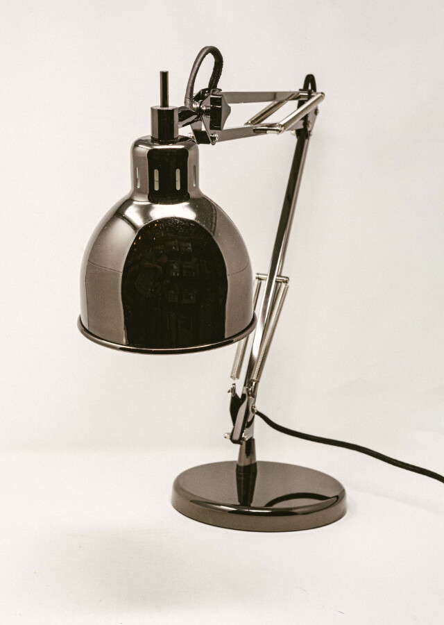 Job Table Lamp- Black Chrome