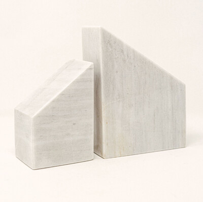Bookends in White Marble