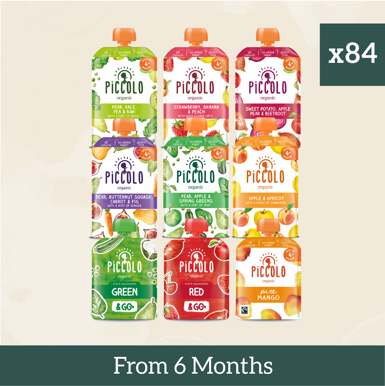 84x Baby Meals from 6 months, All free from Allergens & Only Plant Based