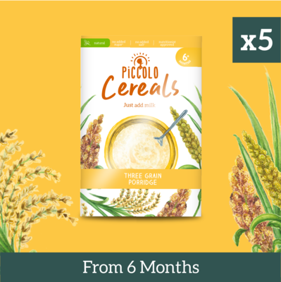 5x Piccolo Three Grain Porridge 125g from 6 months