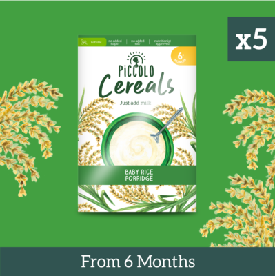 5x Piccolo Baby Rice Porridge 125g from 6 months