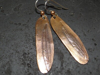 Copper Plate Feather Earrings