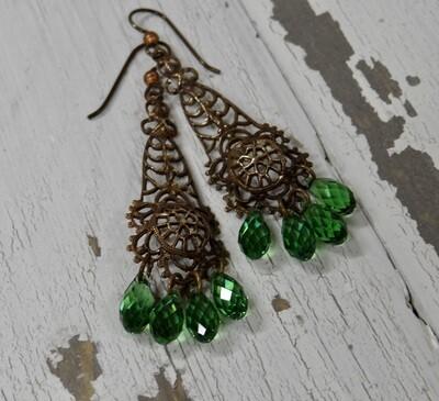 Brass & Swarovski Earrings