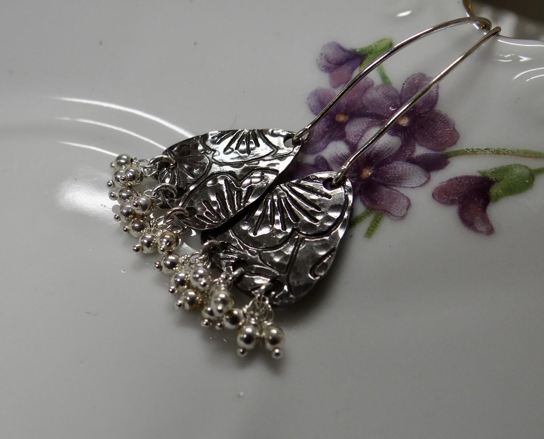 Fine Silver Gingko Earrings