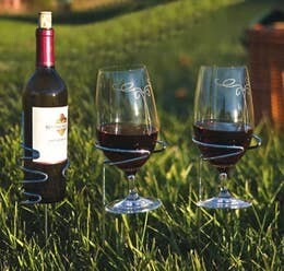 Cheers Wine Bottle & Glasses Stake Set