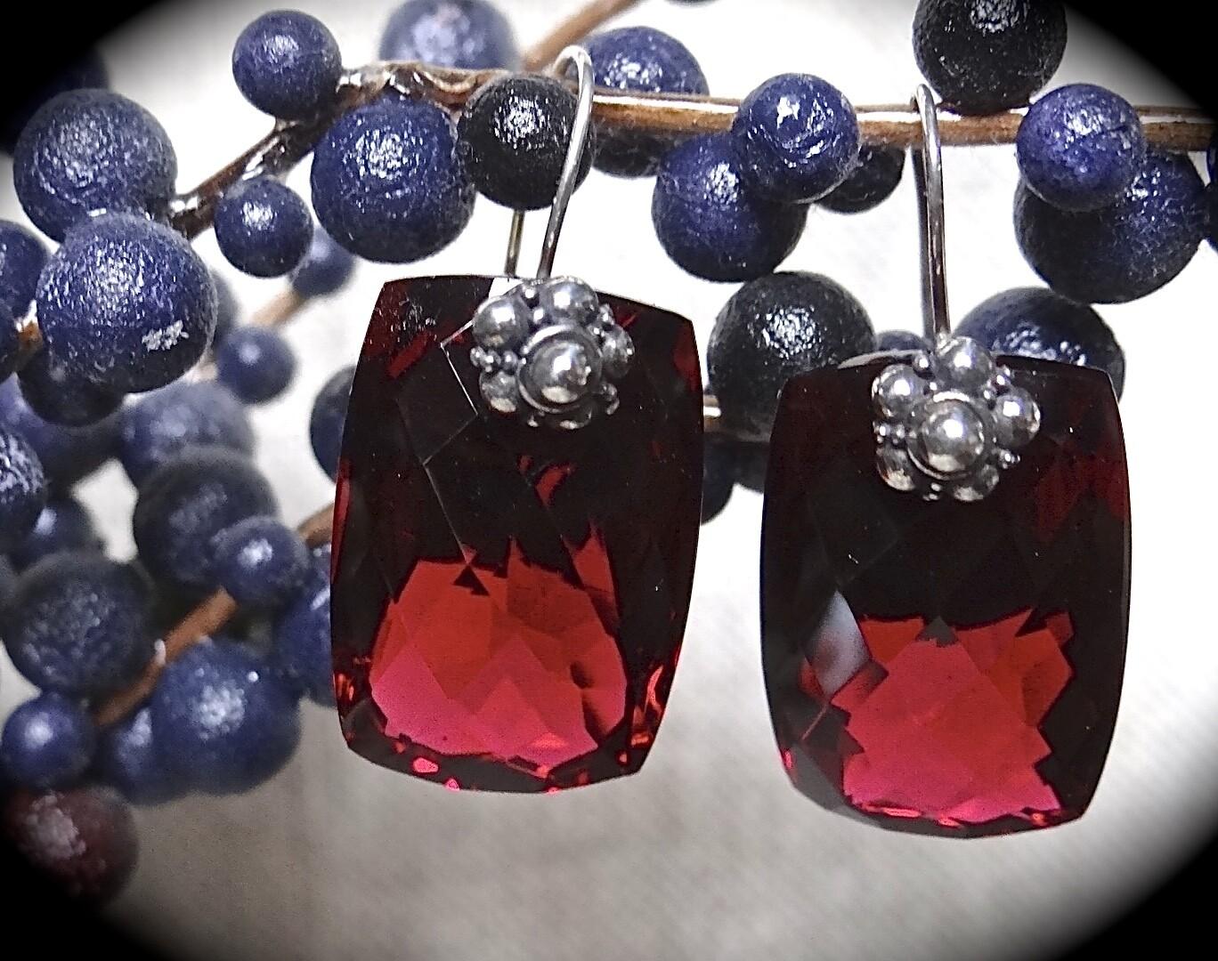 Ruby Quartz Sterling Earrings