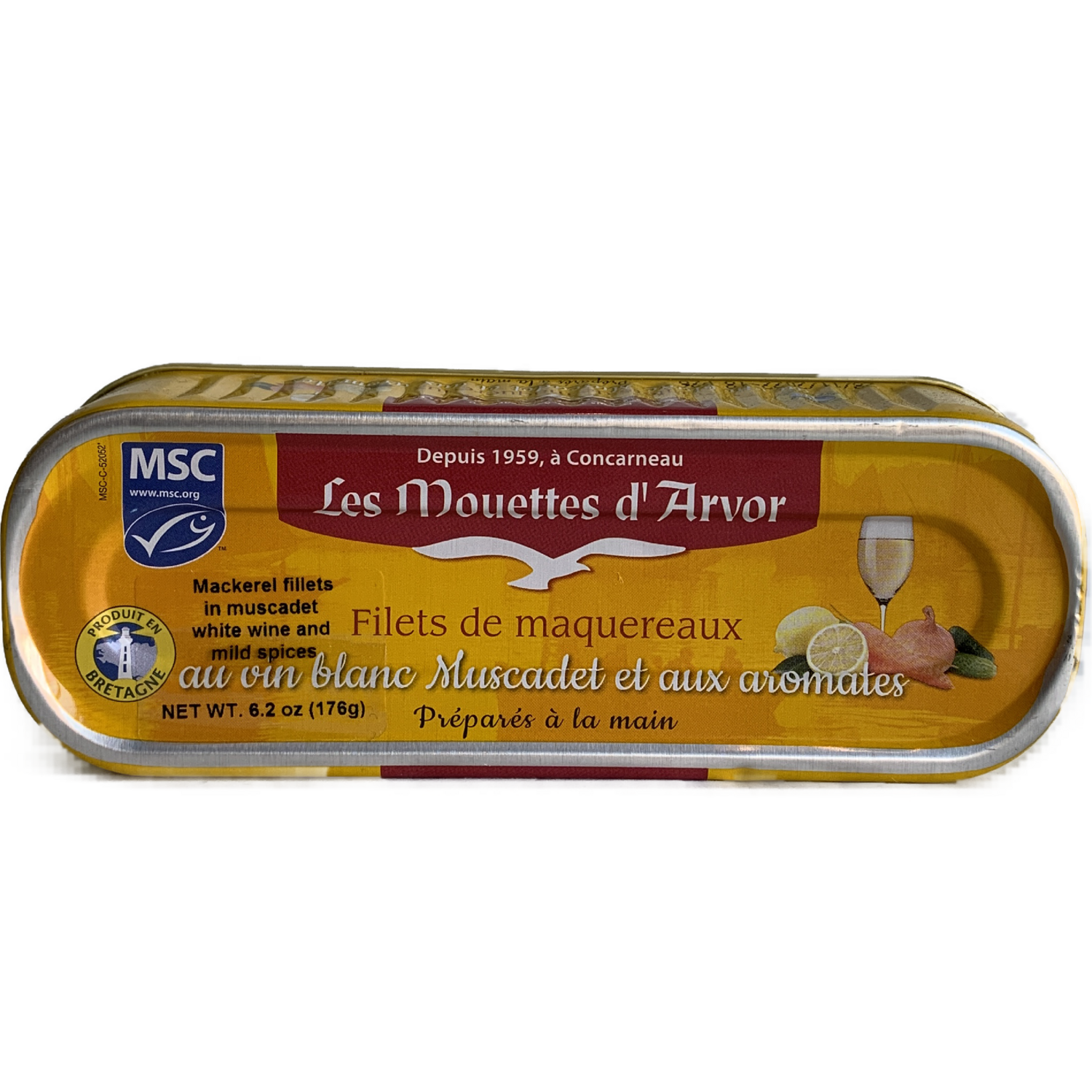 Mouettes D'Arvor Mackerel fillets /wine 6 oz.
