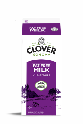 Dairy / Milk / Clover Fat Free Milk Half Gallon