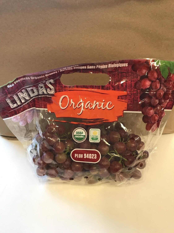 Produce / Fruit / Organic Red Grapes, 2 lb bag