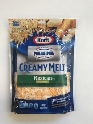 Deli / Cheese / Kraft Shredded Mexican Four Cheese Creamy Melt, 8oz.