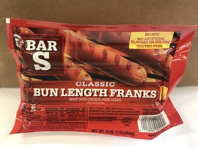 Deli / Meat / Bar S Bun Length Franks 16oz