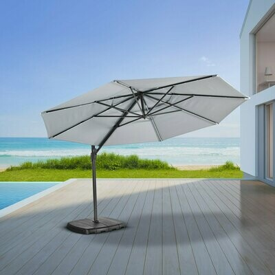 Monaco Deluxe Sun Shade Grey (Grey Pole) - 3.3 Round Parasol with Lights Inc Cover & Base