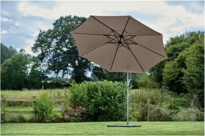 Riviera Sun Shade Old Green (Grey Pole) -  3m Free Arm Parasol