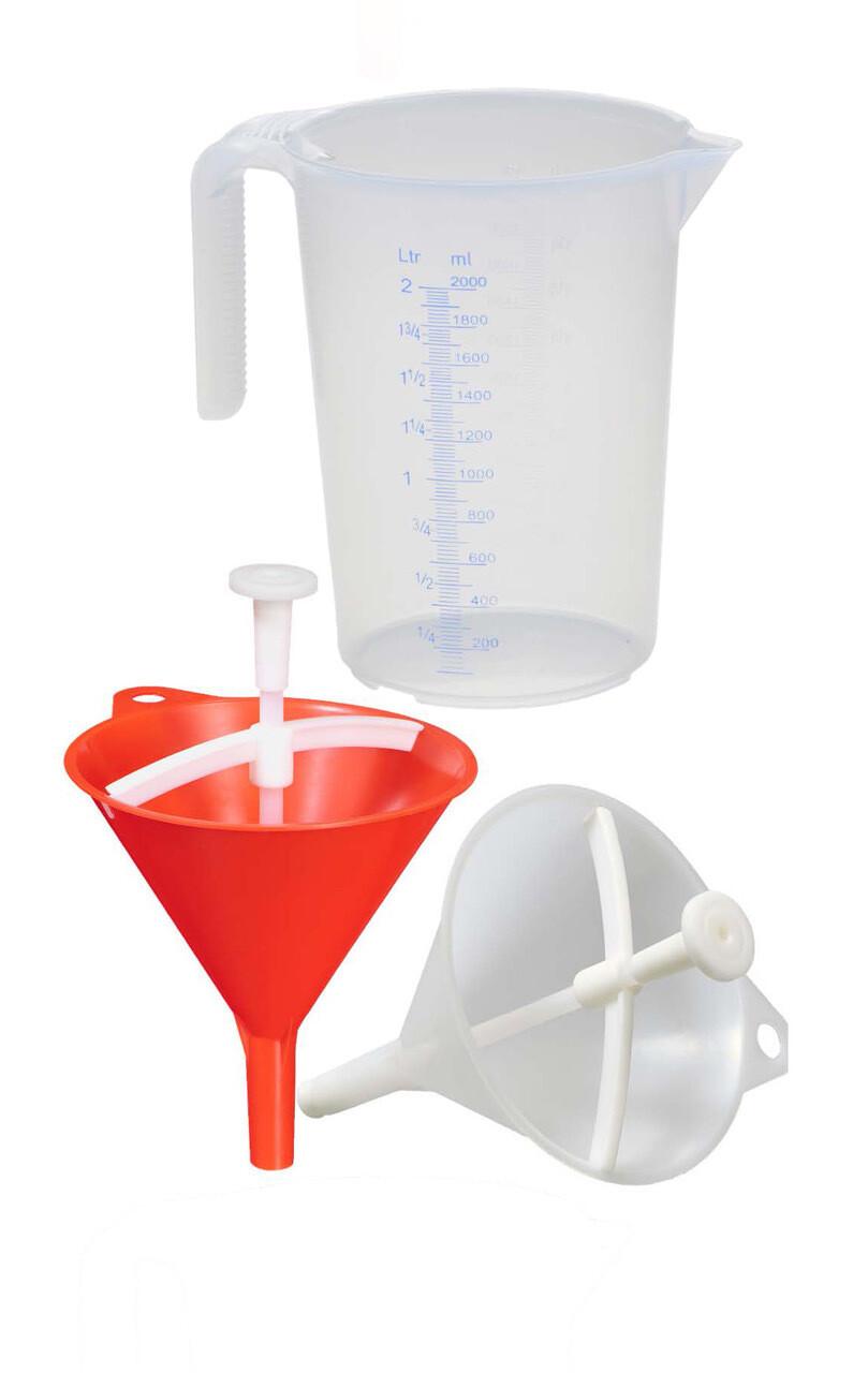 DRYCHTER TRIO: 2 Drychter + Messbecher - für Haushalt & Küche (weiß) und Handwerk & Gewerbe (rot) inkl. Messbecher 2 Liter