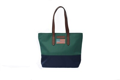 Tello & Rose Tote (Grn/Navy Flag)