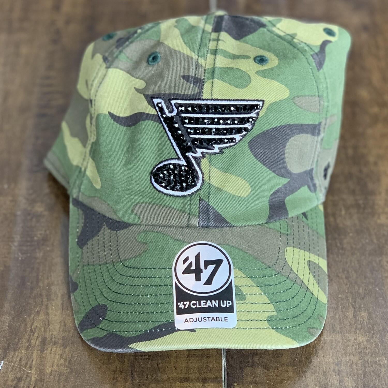 Camo '47 Hat W/ Blk. Crystal