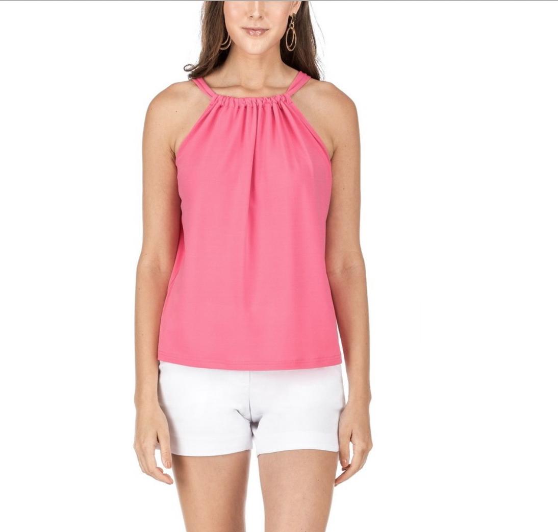 Pink Cinch-Neck Top
