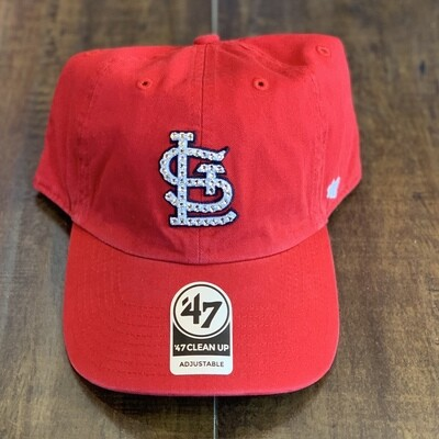 Red '47 Hat w/ Clear Crystal