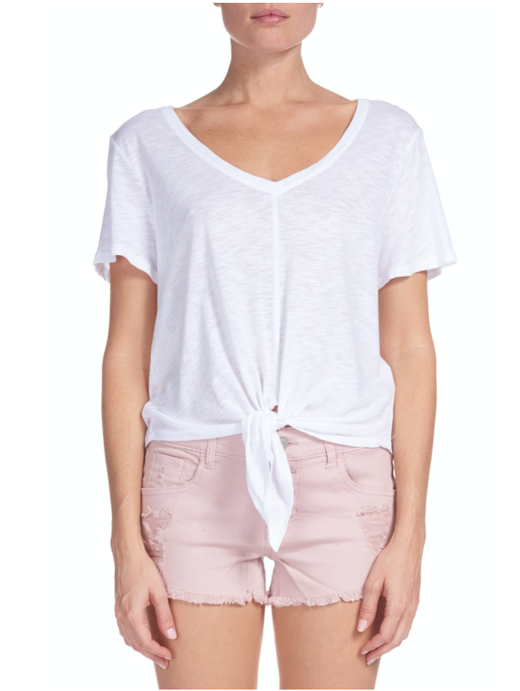 White Tie-Front T-Shirt