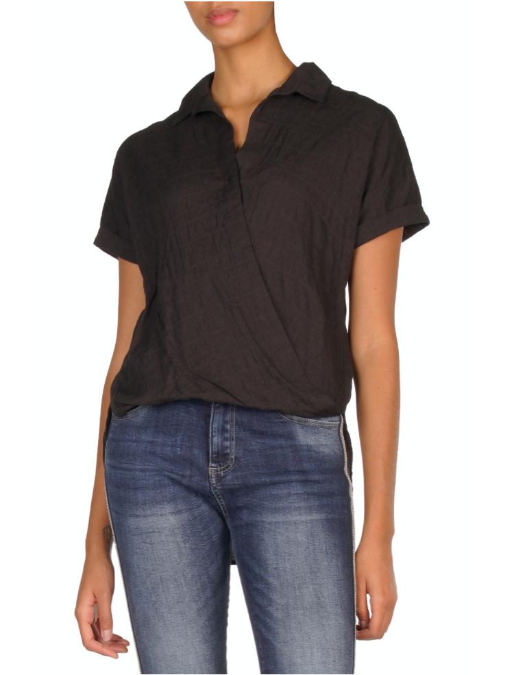 Black Cotton-Crinkle Top