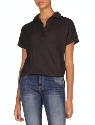 Black Cotton-Crinkle Top