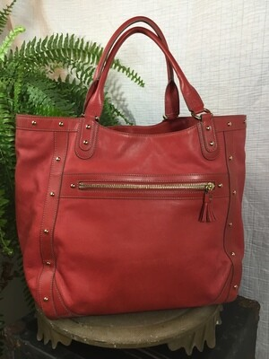 287 Red leather Cole Haan tote 041720