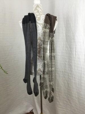 469 2 pair of tights womens size medium 1-grey/white 1-brown/beige 070420