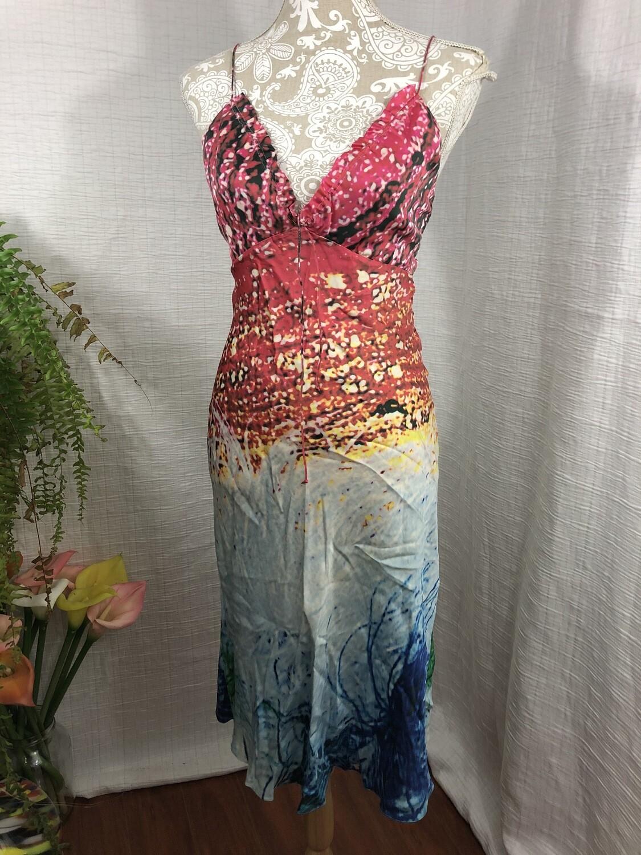 1106 Tufi Duek multi color halter silk dress size 38 071420