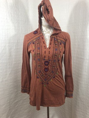 400 johnny was orange hooded embroidered long sleeve top womens size small 072620