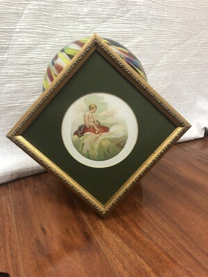 646 gold framed/green matted boy and fish picture 072620