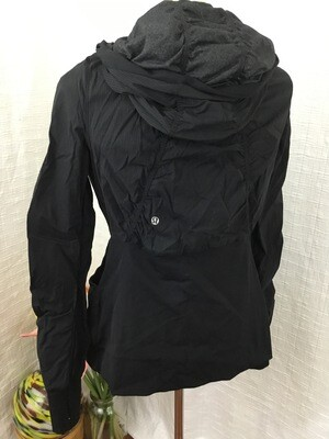 358 black/grey hooded full zip reversible lululemon active jacket womens size 10 080720