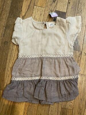 1190 indigo soul tan/brown short sleeve shirt toddler size 2 girls 081420
