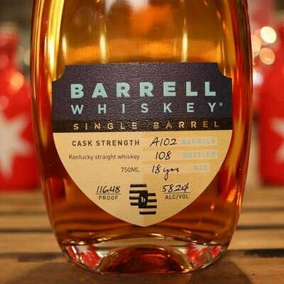 Barrell Whiskey Single Barrel 18 Yr Cask Strength 750ml.